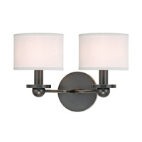 Hudson Valley Lighting Kirkwood 2 Light Wall Sconce in Old Bronze with White Faux Silk Shade 1512-OB-WS photo thumbnail