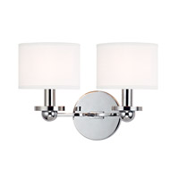 Hudson Valley Lighting Kirkwood 2 Light Wall Sconce in Polished Chrome with White Faux Silk Shade 1512-PC-WS