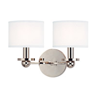Hudson Valley Lighting Kirkwood 2 Light Wall Sconce in Polished Nickel with White Faux Silk Shade 1512-PN-WS