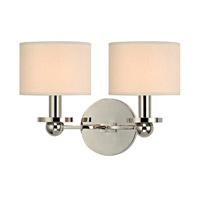 Hudson Valley Lighting Kirkwood 2 Light Wall Sconce in Polished Nickel with Eco Paper Shade 1512-PN