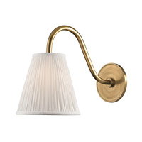 Remsen 1 Light 9 inch Aged Brass Wall Sconce Wall Light in White Faux Silk