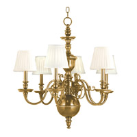 Charleston 6 Light 29 inch Aged Brass Chandelier Ceiling Light