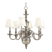 Charleston 6 Light 29 inch Historic Nickel Chandelier Ceiling Light