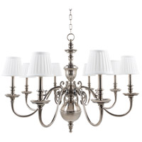 Charleston 8 Light 36 inch Historic Nickel Chandelier Ceiling Light