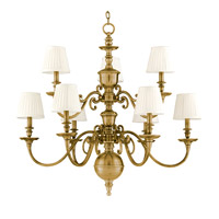 Charleston 9 Light 36 inch Aged Brass Chandelier Ceiling Light