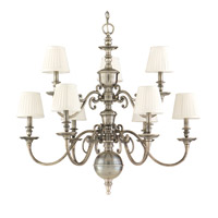 Charleston 9 Light 36 inch Historic Nickel Chandelier Ceiling Light