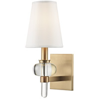 Luna 1 Light 6 inch Aged Brass Wall Sconce Wall Light, Crystal Spheroid