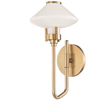 Knowles LED 7 inch Aged Brass Wall Sconce Wall Light, White