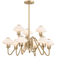 Hudson Valley 2009-AGB Knowles LED 30 inch Aged Brass Chandelier Ceiling Light White