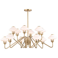 Hudson Valley 2012-AGB Knowles LED 43 inch Aged Brass Chandelier Ceiling Light White