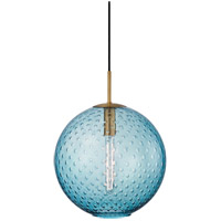 Rousseau 1 Light 16 inch Aged Brass Pendant Ceiling Light in Blue Glass