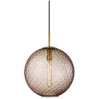 Rousseau 1 Light 16 inch Aged Brass Pendant Ceiling Light in Bronze Glass