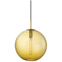 Rousseau 1 Light 16 inch Aged Brass Pendant Ceiling Light in Light Amber Glass