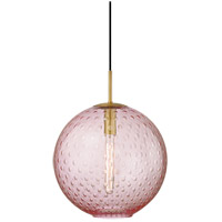Rousseau 1 Light 16 inch Aged Brass Pendant Ceiling Light in Pink Glass