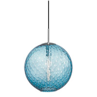 Rousseau 1 Light 16 inch Polished Chrome Pendant Ceiling Light in Blue Glass