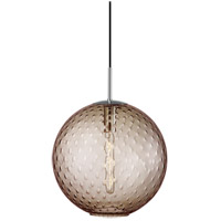 Rousseau 1 Light 16 inch Polished Chrome Pendant Ceiling Light in Bronze Glass