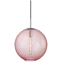 Rousseau 1 Light 16 inch Polished Chrome Pendant Ceiling Light in Pink Glass