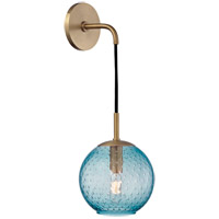 Rousseau 1 Light 6 inch Aged Brass Wall Sconce Wall Light in Blue Glass