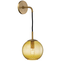 Rousseau 1 Light 6 inch Aged Brass Wall Sconce Wall Light in Light Amber Glass