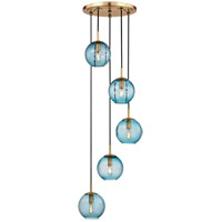 Rousseau 5 Light 14 inch Aged Brass Pendant Ceiling Light in Blue Glass