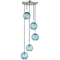 Rousseau 5 Light 14 inch Polished Chrome Pendant Ceiling Light in Blue Glass