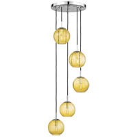 Rousseau 5 Light 14 inch Polished Chrome Pendant Ceiling Light in Light Amber Glass