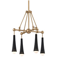 Tupelo LED 20 inch Aged Brass and Black Chandelier Ceiling Light