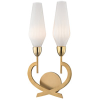 Downing 2 Light 10 inch Aged Brass Wall Sconce Wall Light