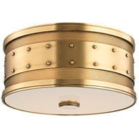 Hudson Valley Lighting Gaines 2 Light Flush Mount in Aged Brass 2202-AGB