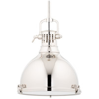 Hudson Valley 2212-PN Pelham 1 Light 14 inch Polished Nickel Pendant Ceiling Light