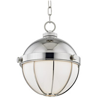 Hudson Valley 2312-PN Sumner 1 Light 12 inch Polished Nickel Pendant Ceiling Light White