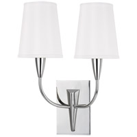 Hudson Valley Lighting Berkley 2 Light Wall Sconce in Polished Chrome with White Faux Silk Shade 2412-PC-WS