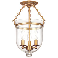 Hudson Valley 251-AGB-C1 Hampton 3 Light 10 inch Aged Brass Semi Flush Ceiling Light in C1