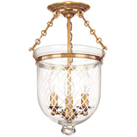 Hudson Valley 251-AGB-C2 Hampton 3 Light 10 inch Aged Brass Semi Flush Ceiling Light in C2