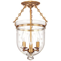 Hampton 3 Light 10 inch Aged Brass Semi Flush Ceiling Light in C3