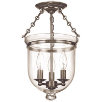 Hampton 3 Light 10 inch Historic Nickel Semi Flush Ceiling Light in C1