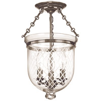 Hudson Valley 251-HN-C2 Hampton 3 Light 10 inch Historic Nickel Semi Flush Ceiling Light in C2