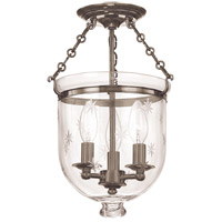 Hampton 3 Light 10 inch Historic Nickel Semi Flush Ceiling Light in C3