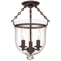 Hudson Valley 251-OB-C1 Hampton 3 Light 10 inch Old Bronze Semi Flush Ceiling Light in C1