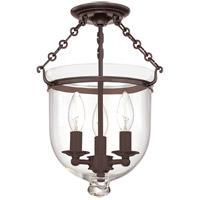 Hudson Valley 251-OB-C1 Hampton 3 Light 10 inch Old Bronze Semi Flush Ceiling Light in C1