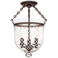 Hudson Valley 251-OB-C2 Hampton 3 Light 10 inch Old Bronze Semi Flush Ceiling Light in C2
