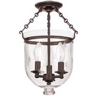 Hudson Valley 251-OB-C3 Hampton 3 Light 10 inch Old Bronze Semi Flush Ceiling Light in C3