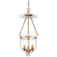 Hudson Valley 252-AGB-C1 Hampton 3 Light 10 inch Aged Brass Pendant Ceiling Light in C1
