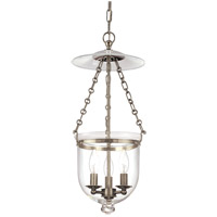 Hampton 3 Light 10 inch Historic Nickel Pendant Ceiling Light in C1