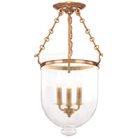 Hudson Valley 253-AGB-C1 Hampton 3 Light 12 inch Aged Brass Semi Flush Ceiling Light in C1