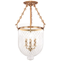 Hudson Valley Lighting Hampton 3 Light Semi Flush in Aged Brass 253-AGB-C2