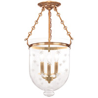 Hampton 3 Light 12 inch Aged Brass Semi Flush Ceiling Light in C3