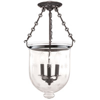 Hudson Valley Lighting Hampton 3 Light Semi Flush in Historic Nickel 253-HN-C3