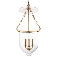 Hudson Valley 254-AGB-C1 Hampton 3 Light 12 inch Aged Brass Pendant Ceiling Light in C1