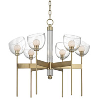 Davis LED 27 inch Aged Brass Chandelier Ceiling Light, Hand-Blown Glass